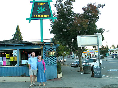 Russel and Carol in front of the Hemp Connection in Garberville