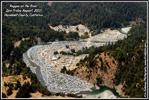 Reggae on the River-aerial 2003 - Photo by Kim Sallaway